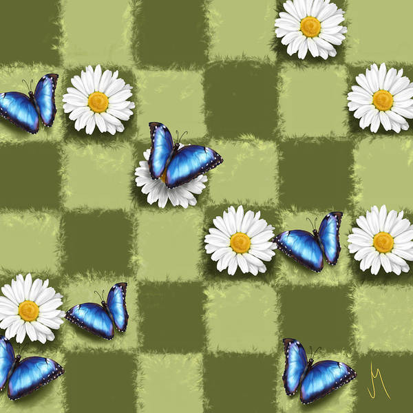 White Butterfly Digital Art - Spring Checkers by Veronica Minozzi