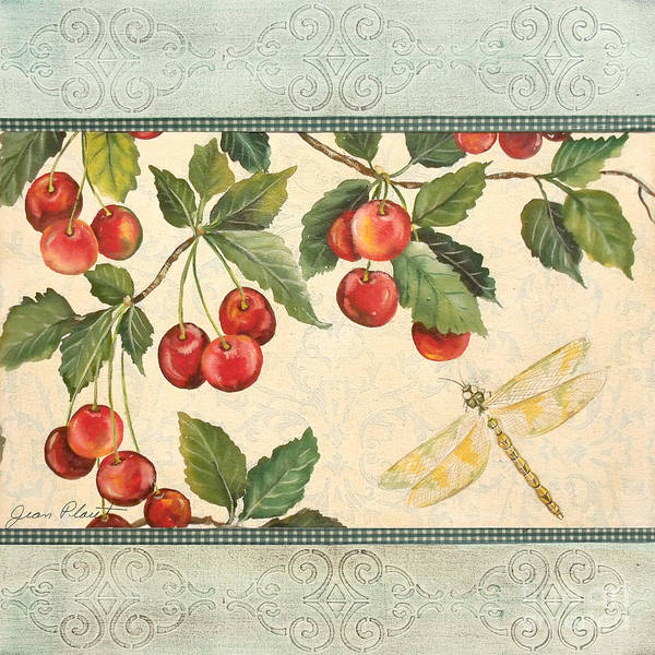 Emboss Wall Art - Painting - Spring Cherries-1 by Jean Plout