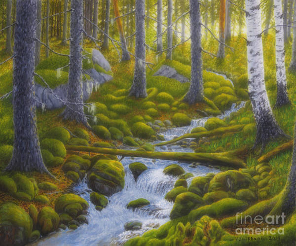 Mossy Wall Art - Painting - Spring Creek by Veikko Suikkanen