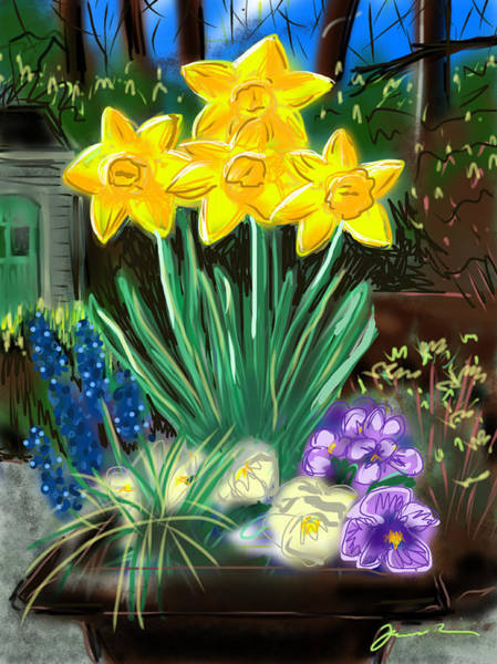 Painting - Spring Daffodils by Jean Pacheco Ravinski