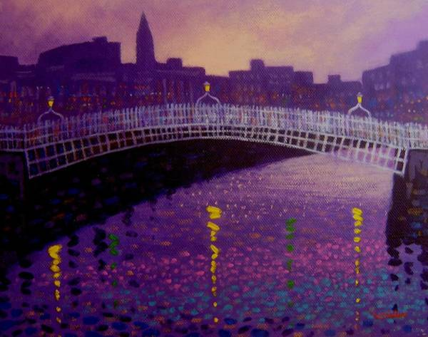 Wall Art - Painting - Spring Evening Ha Penny Bridge Dublin by John  Nolan