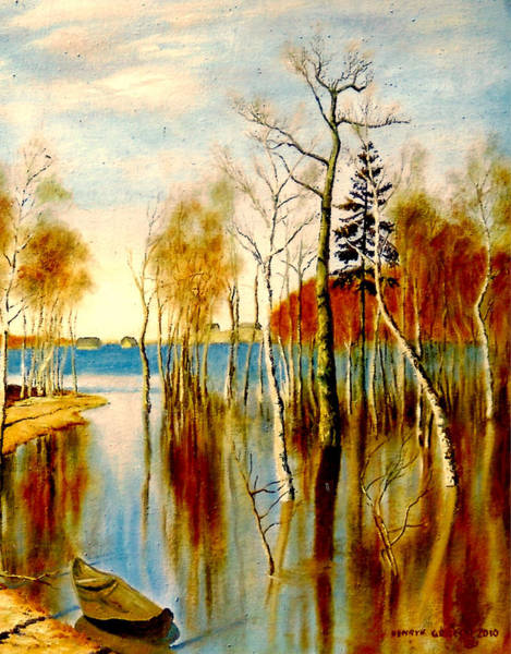 Umber Painting - Spring Flood by Henryk Gorecki