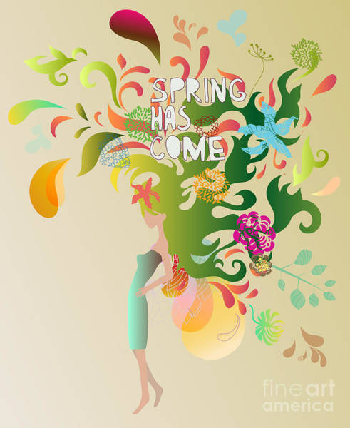 Shapes Digital Art - Spring Floral Girl Illustration by Run4it
