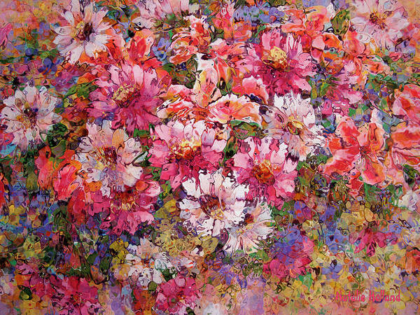 Overflow Painting - Spring Flower Bouquet by Natalie Holland