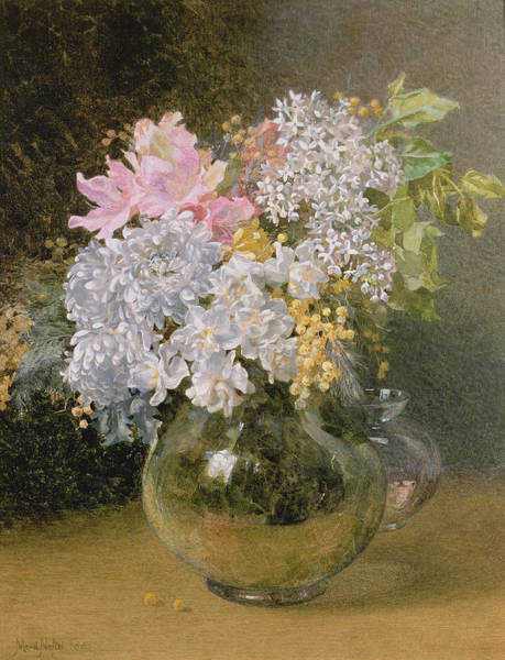 Wall Art - Painting - Spring Flowers In A Vase by Maud Naftel