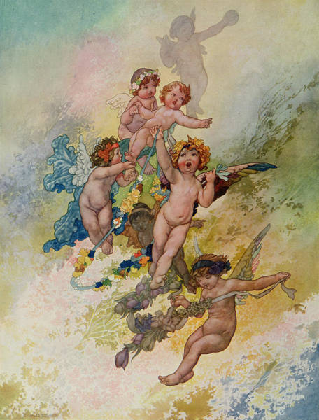 Putto Painting - Spring From The Seasons Commissioned For The 1920 Pears Annual by Charles Robinson
