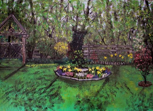 Forsythia Painting - Spring Garden by Judy Via-Wolff