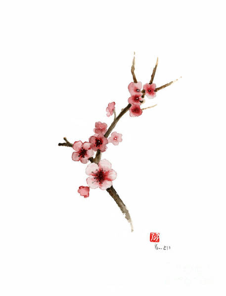 Acrylic Paints Painting - Spring Gift Flowers Pink Sakura Purple Brown Bloom From Cherry Blossom Watercolor Painting by Johana Szmerdt