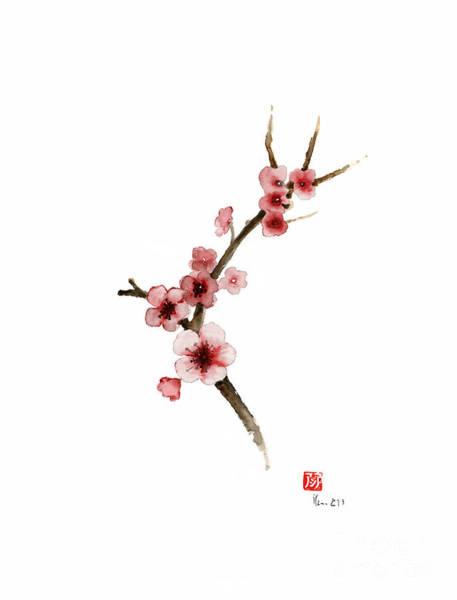 Wall Art - Painting - Spring Gift Flowers Pink Sakura Purple Brown Bloom From Cherry Blossom Watercolor Painting by Johana Szmerdt