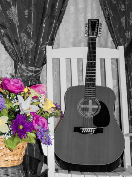 Wall Art - Photograph - Spring Guitar- Selective Color by Mechala Matthews