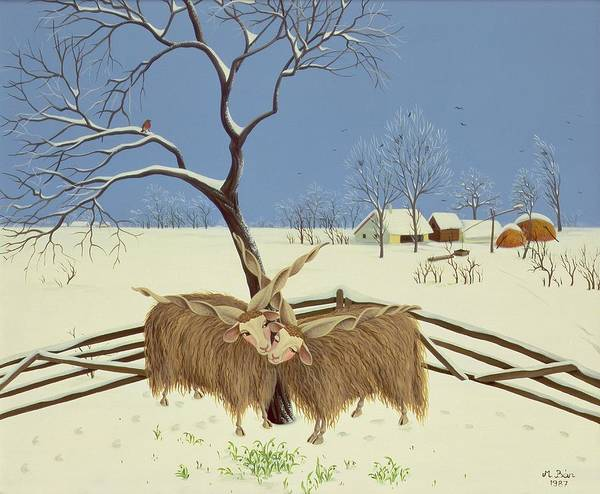 Yak Painting - Spring In Winter by Magdolna Ban