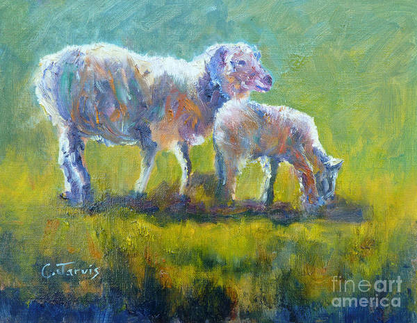 Painting - Spring Lamb With Mom by Carolyn Jarvis