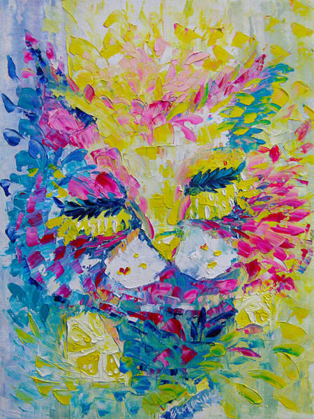 Painting - Spring Pink Cat by Ekaterina Chernova