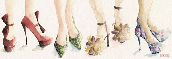 Wall Art - Painting - Spring Shoes Watercolor Fashion Illustration Art Print by Beverly Brown