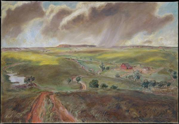 Central America Painting - Spring Shower Western Kansas Landscape by John Steuart Curry