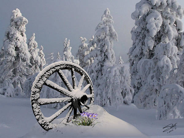 Wagon Wheel Digital Art - Spring Snowfall by M Spadecaller
