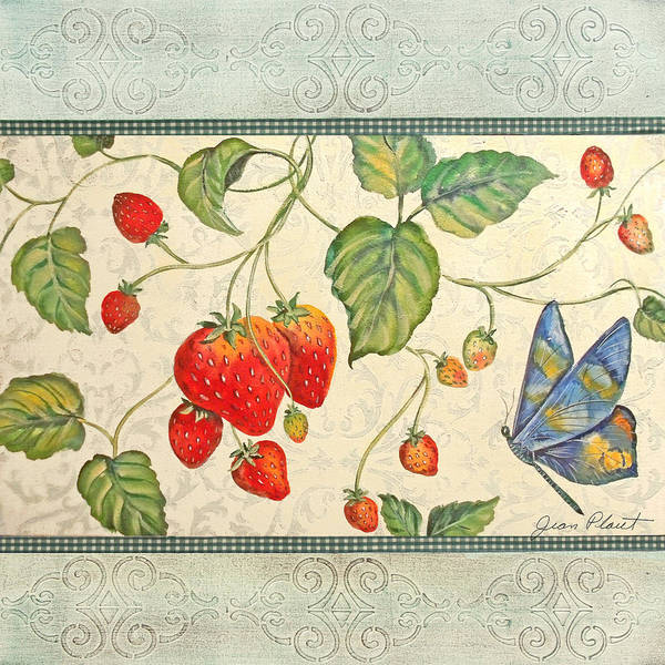 Emboss Wall Art - Painting - Spring Strawberries by Jean Plout