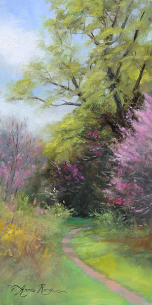 Outdoors Painting - Spring Trail by Anna Rose Bain