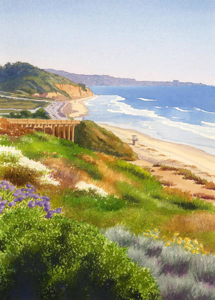 Pacific Painting - Spring View Of Torrey Pines by Mary Helmreich
