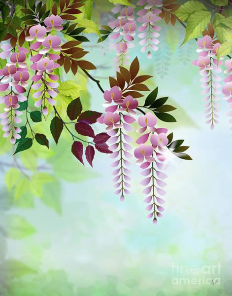 Rose Flower Digital Art - Spring Wisteria by Peter Awax