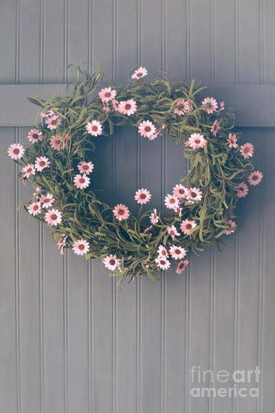 Photograph - Spring Wreath With Flowers Hanging On Hook by Sandra Cunningham