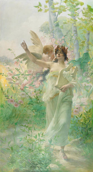 Allegory Wall Art - Painting - Springtime Allegory by Paul Francois Quinsac
