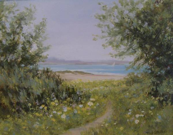 Oceanscape Painting - Springtime Beach Path by Tina Obrien