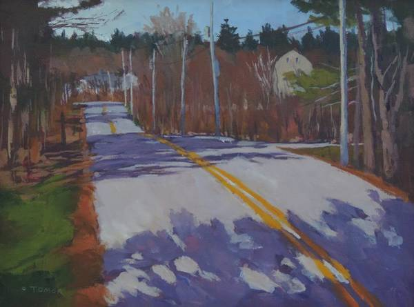 Pine Needles Painting - Springtime Country Road - Art By Bill Tomsa by Bill Tomsa