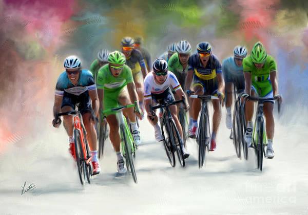 Le Tour De France Wall Art - Painting - Sprint Finish by Linton Hart