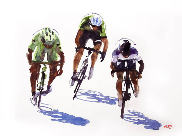 Le Tour De France Wall Art - Painting - Sprinter's Effort by Shirley  Peters