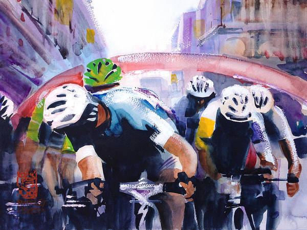 Le Tour De France Wall Art - Painting - Sprinters Go by Shirley  Peters