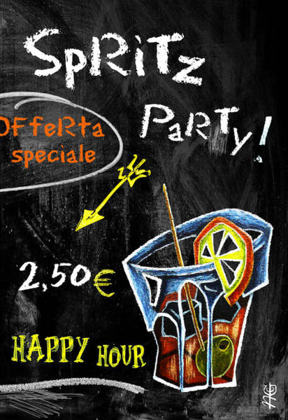 Wall Art - Mixed Media - Spritz Party Happy Hour - Aperitif Venice Italy by Arte Venezia