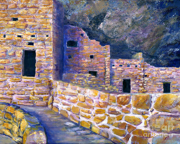 Painting - Spruce House At Mesa Verde In Colorado by Lenora  De Lude