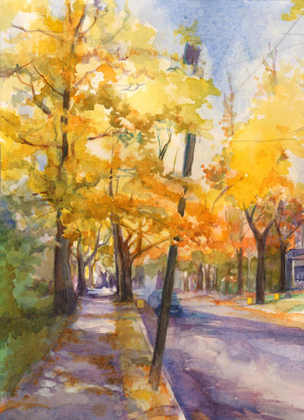 Painting - Spruce Street Maples #2 by Nancy Watson