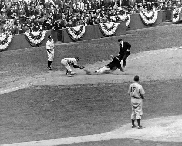 Brooklyn Dodgers Photograph - Spud Chandler Is Out At Third In The Second Game Of The 1941 Wor by Underwood Archives