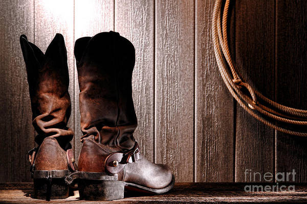 Roping Photograph - Spurs On Cowboy Boots Heels by Olivier Le Queinec