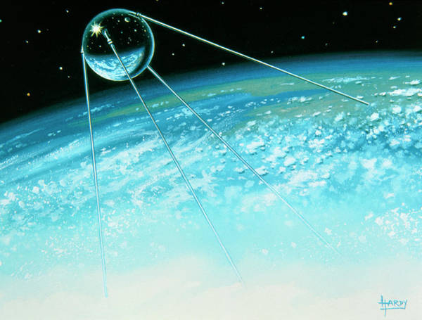 Sputnik Wall Art - Photograph - Sputnik 1 The First Artificial Satellite by David A. Hardy/science Photo Library
