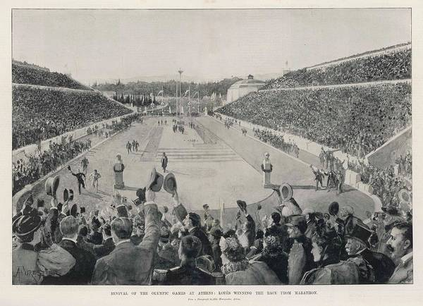 Athens Marathon Wall Art - Drawing - Spyridon Loues Winning The  Race by  Illustrated London News Ltd/Mar