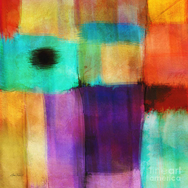 Teal Mixed Media - Square Abstract Study Three  by Ann Powell