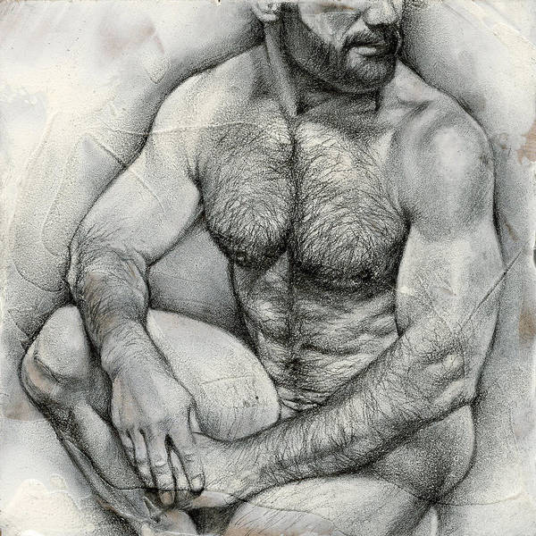 Male Nude Drawing - Square Composition 2 by Chris Lopez