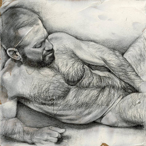 Male Nude Drawing - Square Composition 4 by Chris Lopez