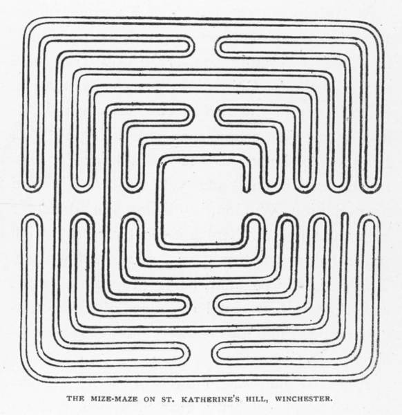 Folklore Drawing - Square Miz-maze On Saint  Katherine's by Mary Evans Picture Library