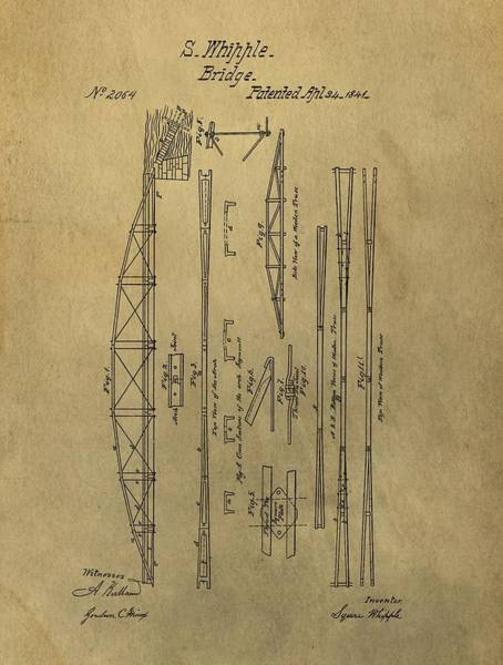 Ohio River Drawing - Squire Whipple Truss Bridge Patent by Dan Sproul