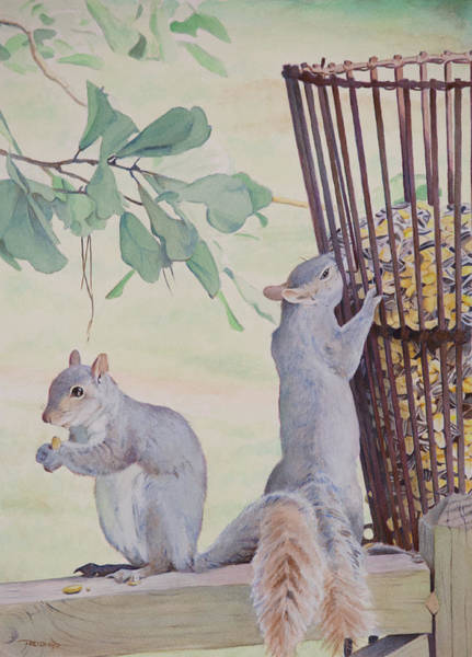 Painting - Squirrel Feeder by Christopher Reid