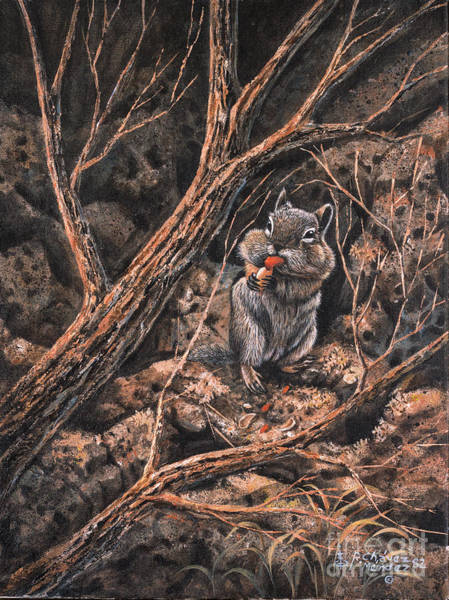Hibernation Wall Art - Painting - Squirrel-ly by Ricardo Chavez-Mendez