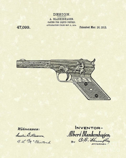 Drawing - Squirt Gun 1915 Patent Art by Prior Art Design