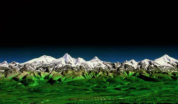 Endeavour Photograph - Sredinnyy Khrebet Volcanoes by Nasa/science Photo Library