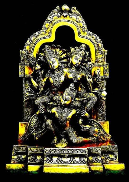 Laksmi Wall Art - Digital Art - Sri Garuda Laksmi Narayana by Henrich Horvath