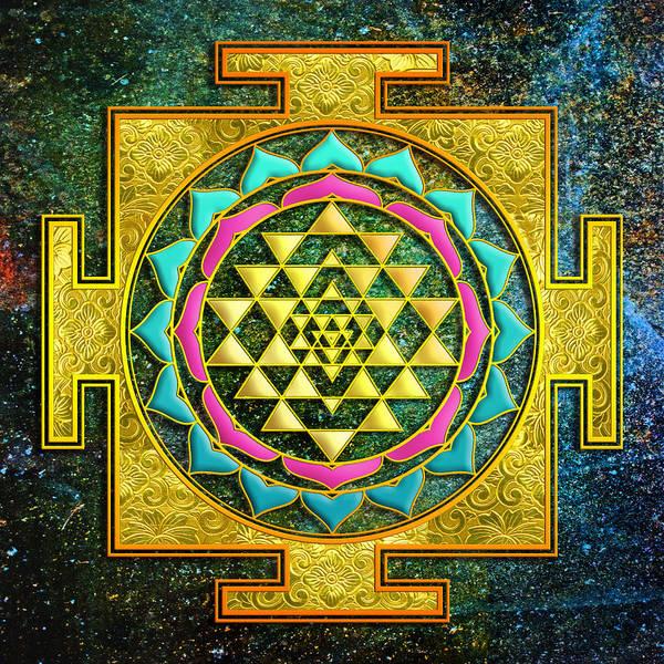 Wall Art - Mixed Media - Sri Yantra Gold And Stars by Lila Shravani