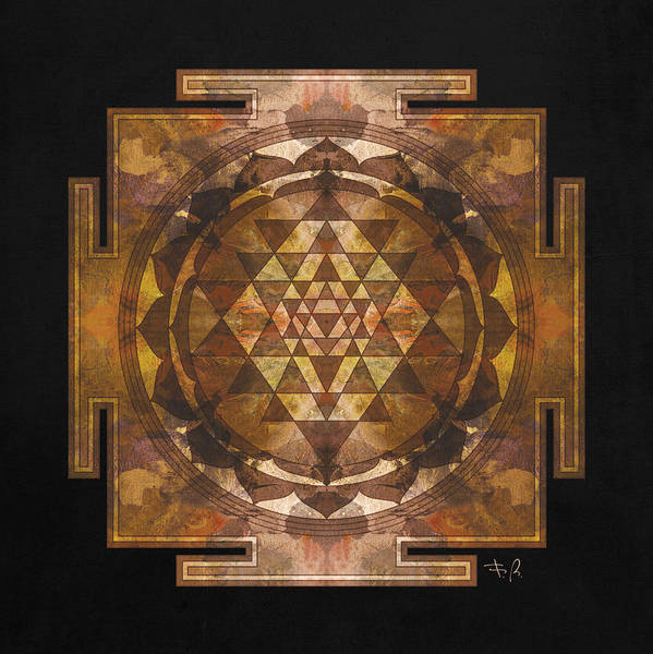 Divine Digital Art - Sri Yantra Gold by Filippo B